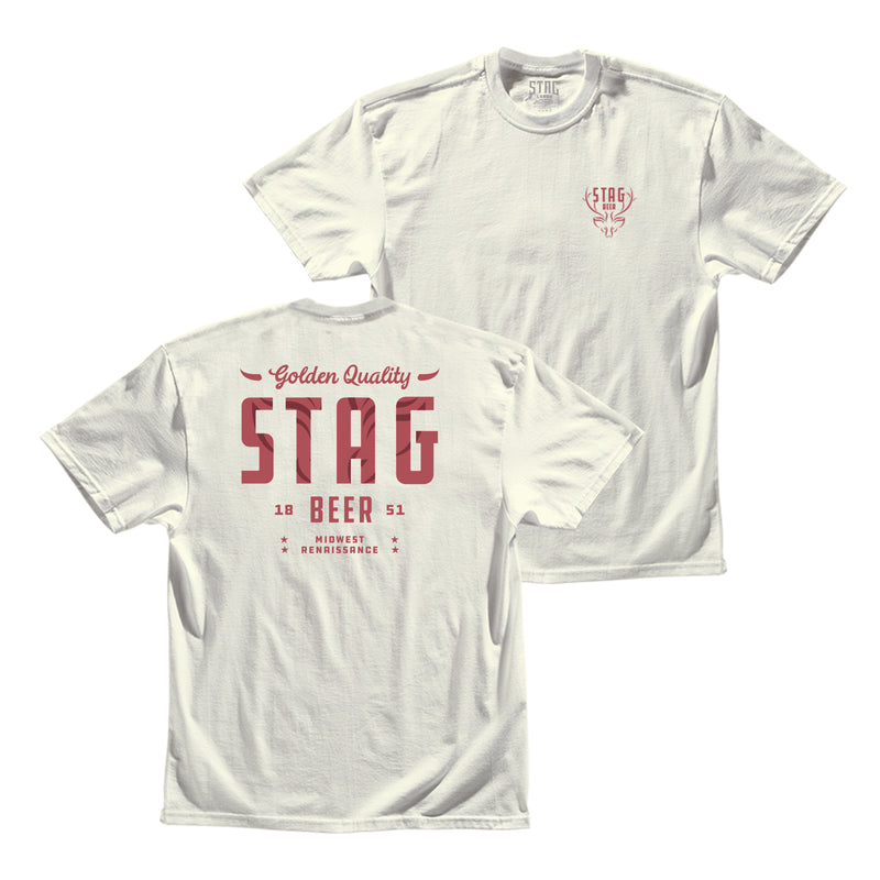 Golden Quality Tee - Vintage White - Stag Beer