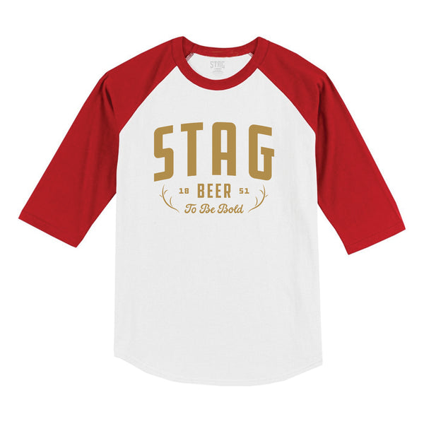 Antler Raglan - White/Red - Stag Beer