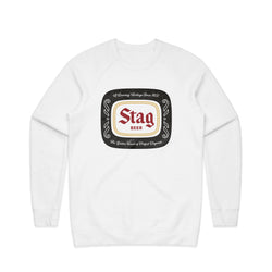 BADGE CREWNECK FLEECE - WHITE - Stag Beer