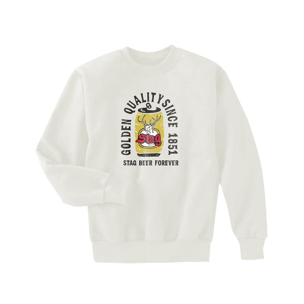 STAG FOREVER CREWNECK FLEECE - WHITE - Stag Beer
