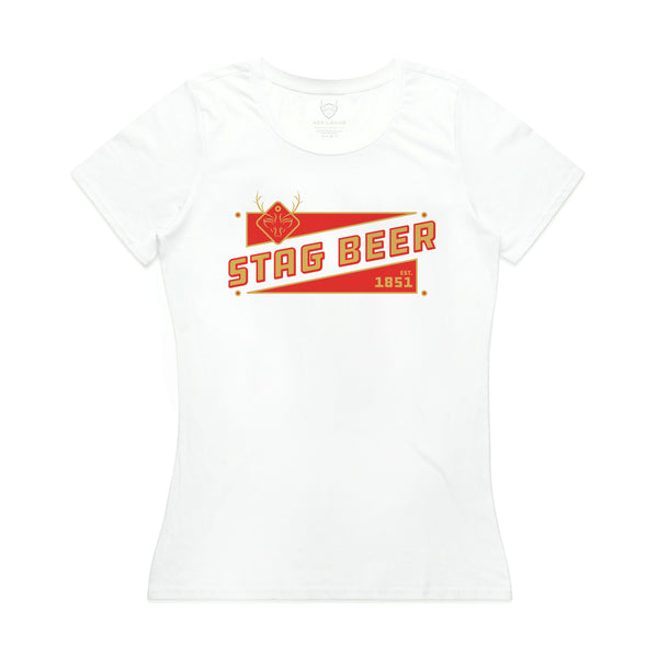 STAG BEER WOMEN'S TEE - WHITE - Stag Beer