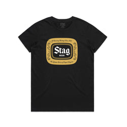 WOMEN'S BADGE TEE - BLACK - Stag Beer