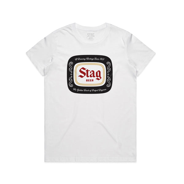 WOMEN'S BADGE TEE - WHITE - Stag Beer