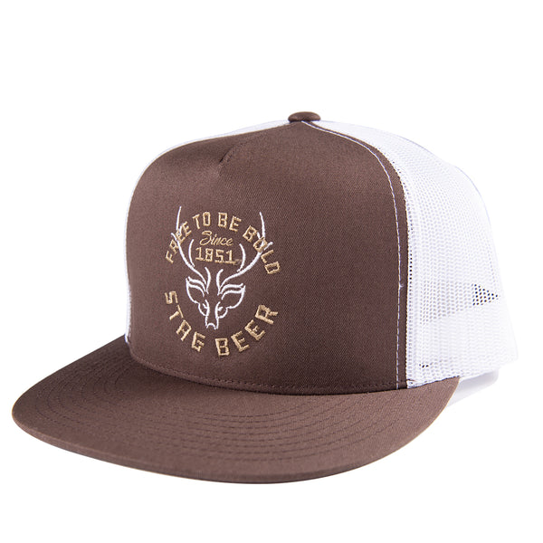 1851 Trucker Hat-Brown/White - Stag Beer