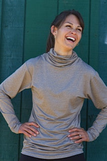 Ladies Taupe Scrunch Neck Base Layer