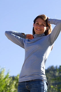 Ladies Blue Scrunch Neck Base Layer