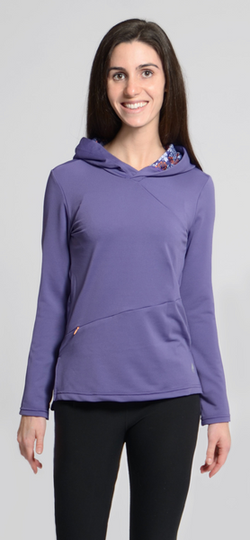 Ladies Plum Cross-Over Hoodie