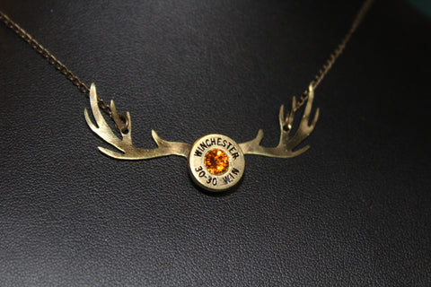 Bullet head deer antler necklace with tangerine swarovski crystal