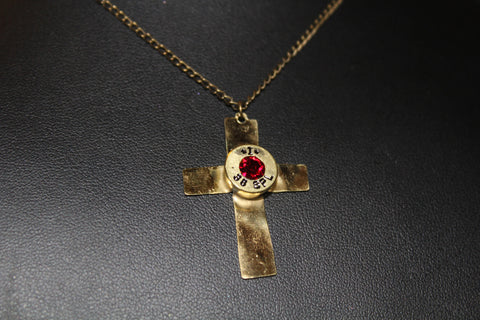 Bullet head cross necklace with siam (red) swarovski crystal