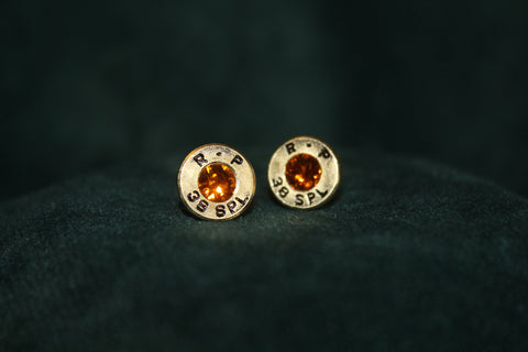Bullet head earrings with hypoallergenic posts and tangerine swarovski crystals