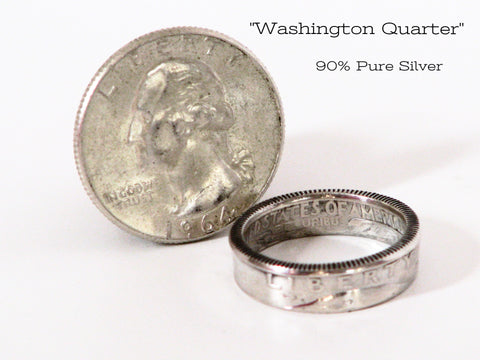 Silver Quarter Coin Rings