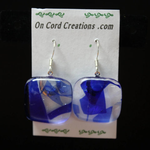 fused glass earrings blue and clear