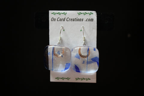 fused glass dangle earrings clear with blue
