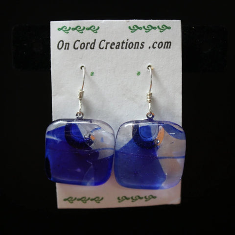 fused glass dangle earrings blue and clear