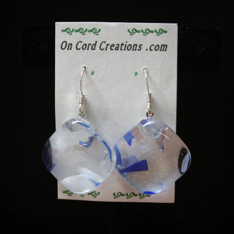 fused glass dangle earrings clear and blue diamond shaped