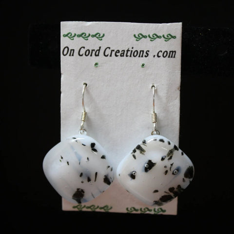 fused glass dangle earrings white with black specks