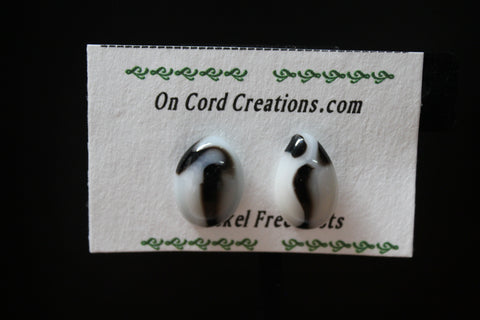 fused glass post earrings white and black ovals