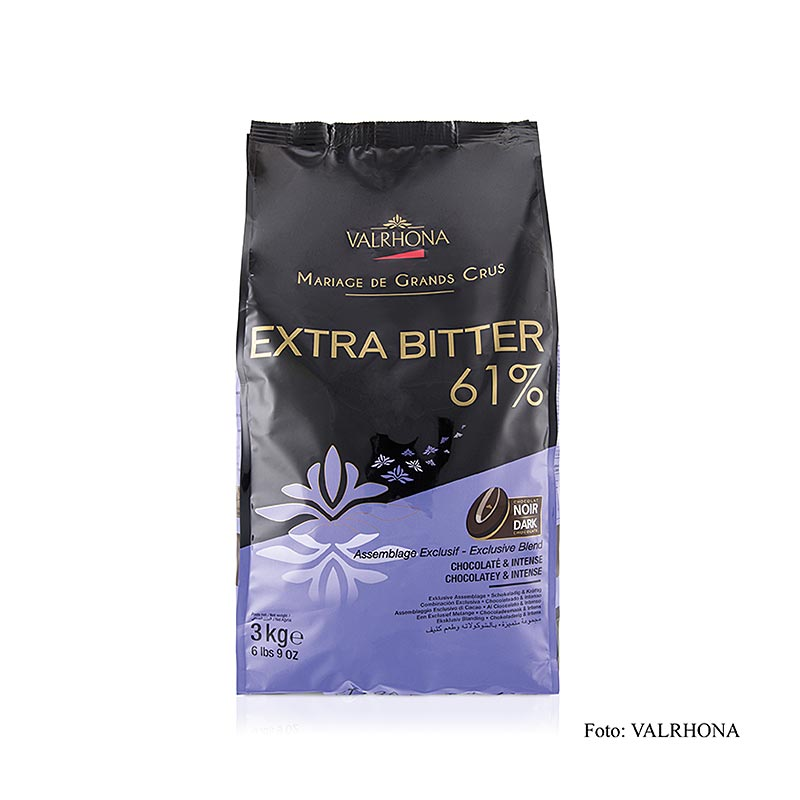 Extra Bitter, dunkle Couverture, Callets, 61% Kakao,  3 kg - Couverture, Schoko-Formen, Schoko-Produkte - Valrhona Couverture - thungourmet