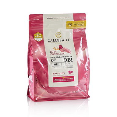 Ruby - Rosa Schokolade (47,3%), Callets Couverture, Callebaut,  2,5 kg - Couverture, Schoko-Formen, Schoko-Produkte - Callebaut Couverture - thungourmet