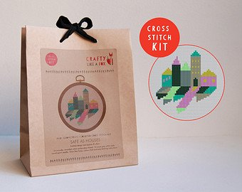 Geometric Houses Cross Stitch Kits