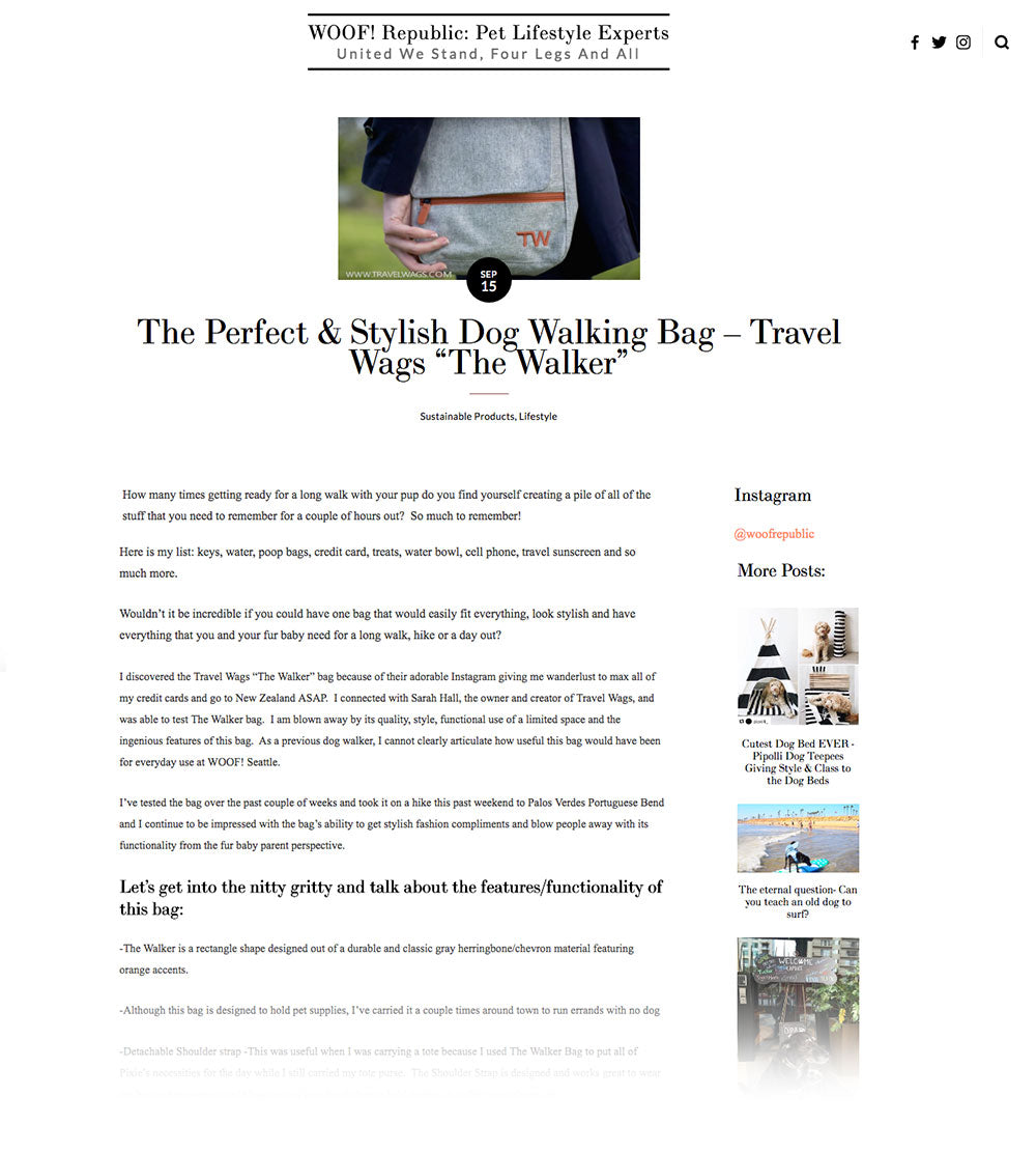 Travel Wags Dog Walking Bags Woof Republic