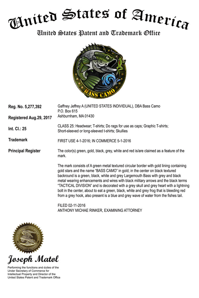 Bass Camo achieves Registered Trademark status from the United States Patent Trademark Office !