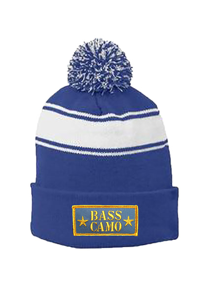 Bass Camo cold weather hats Royal Blue cuffed w/pom pom or Black fleece lined uncuffed both with embroidered sewed on patch. ON Sale NOW buy one get the second one 1/2 off enter discount code Grab a beanie