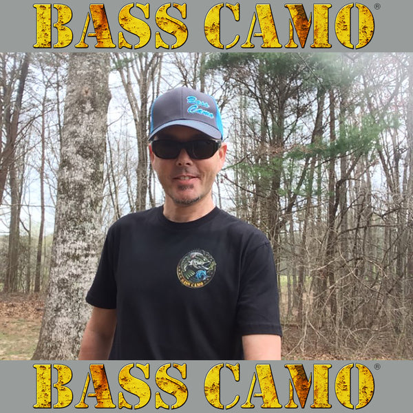 Bass Camo 3D Script Fishing Hat Snap Back Trucker embroidered in pro-stitch high thread count neon blue or pink with risen 3D script superior feature.