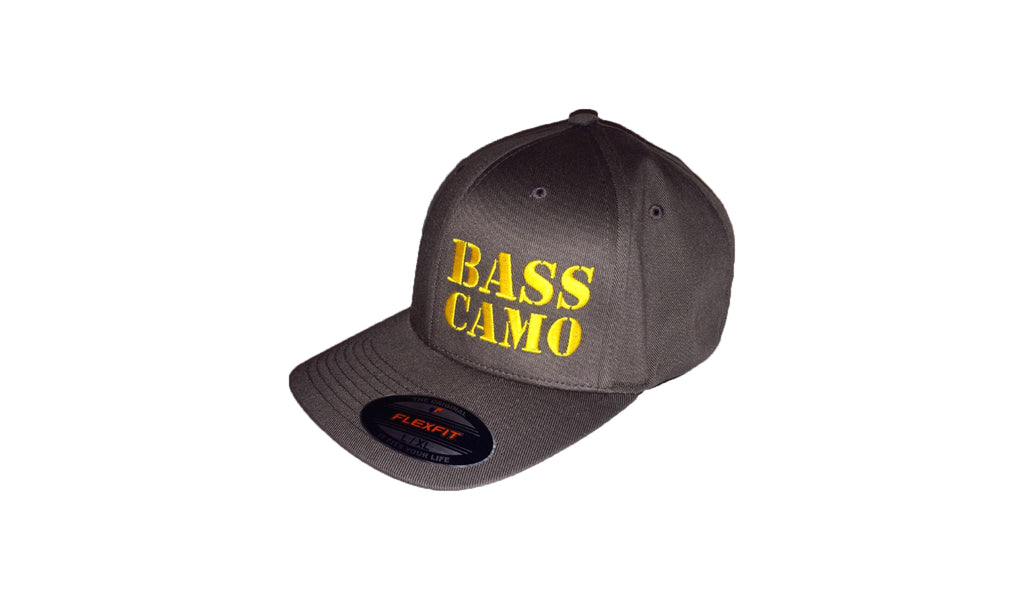 "Bass Camo FlexFit Tech Fishing Hat charcoal grey with pre-curved visor embroidered front and back in pro-stitch high thread count vibrant gold. FREE 4"" DECAL with purchase !"
