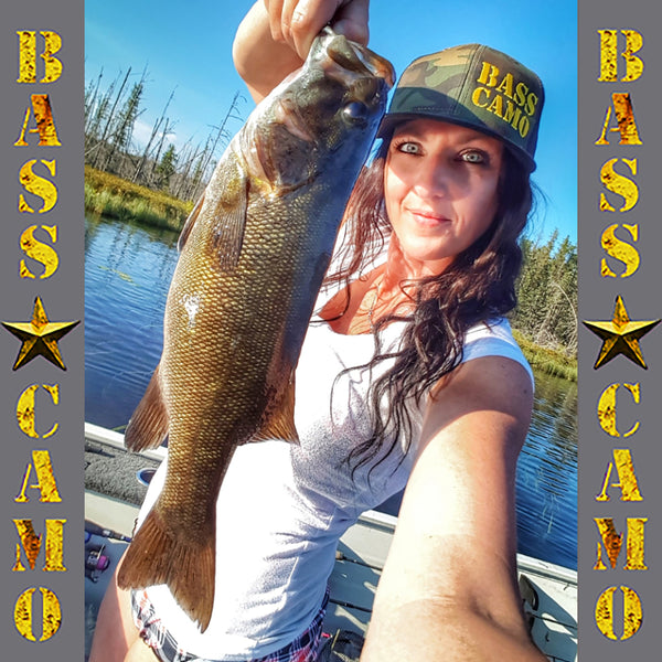 Bass Camo Flat Brim Snap Back Camo Fishing Hat embroidered in pro-stitch high thread count vibrant gold with black vented back.