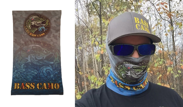 "Bass Camo Sun Safe UPF50 High Performance Neck Gaiter / Buff features front and back design measures 9""x 17"" powered by PURE-tech lightweight breathable moisture wicking technology."