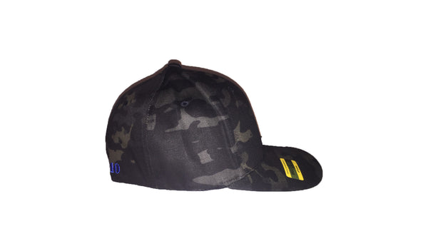 Bass Camo FlexFit Black Camo Fishing Hat with pre-curved visor embroidered front and back in pro stitch high thread count with vibrant royal blue chartreuse green and red.