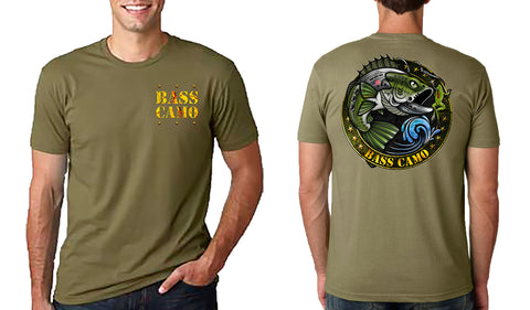 "Bass Camo ""The Vet"" Fishing Shirt performance short sleeve t-shirt features front and back vibrant design 4.3 oz 100% ring spun cotton for superior softness with set-in baby rib collar and tear away label."