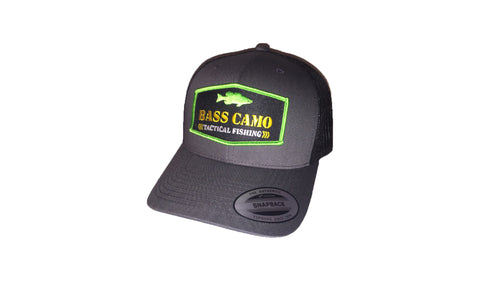 Bass Camo Retro Patch Tactical Snap Back Fishing Hat charcoal grey with pre-curved visor embroidered in pro-stitch high thread count vibrant 3 color patch with black vented back.