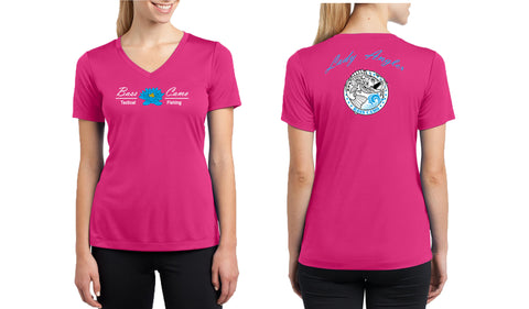 "ON SALE Bass Camo ""Lady Angler"" Fishing Shirt Dry Fit V-Neck Sport Competitor Tee features front and back vibrant design lightweight 3.8 oz 100% polyester interlock highly breathable moisture wicking gently contoured silhouette and tear away label."