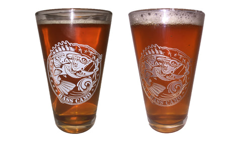 Bass Camo 16oz Pint Glass etched in white or silver             (Ships free by using discount code Pint at checkout)