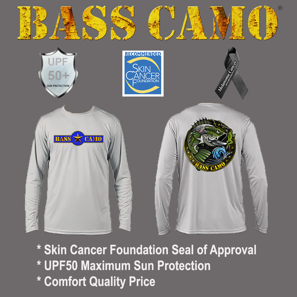 "ON SALE FREE 4"" DECAL with purchase. Bass Camo Sun Safe UPF50 High Performance Long Sleeve Fishing Shirt carries the Skin Cancer Foundation Seal of Approval powered by PURE-tech lightweight 4.1 oz highly breathable moisture wicking 100% polyester."