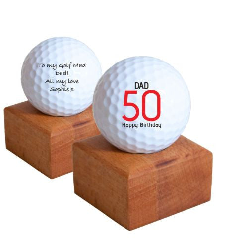 Personalised Golf Ball With Presentation Stand Dad Father Son Present Gift Idea