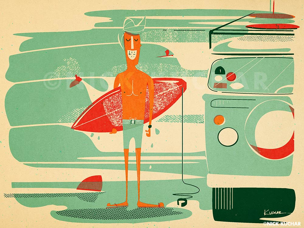 Nick Kuchar vintage surf illustration athletic look