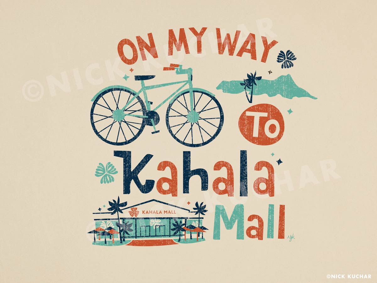 Nick Kuchar Vintage Hawaii Kahala Mall Illustration