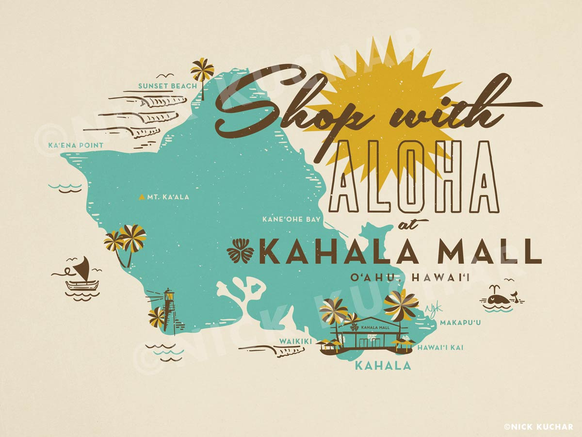 Nick Kuchar Vintage Hawaii Map Totebag