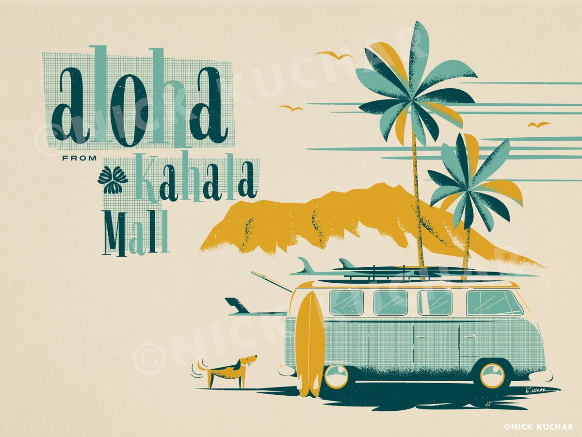 Nick Kuchar Vintage Hawaii Surf Illustration
