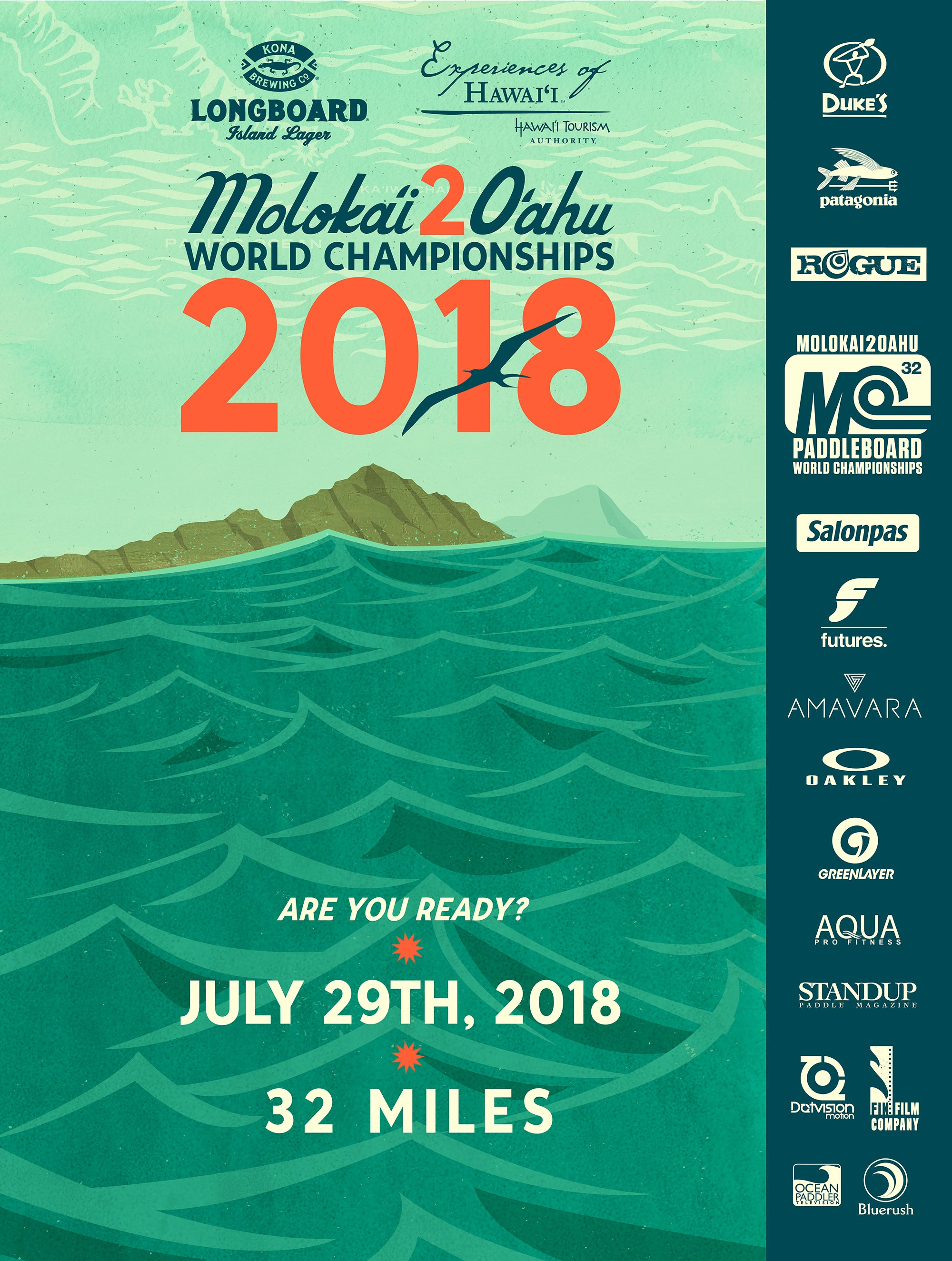 Nick Kuchar Vintage Hawaii SUP Contest Art Poster