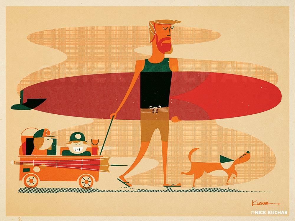 Nick Kuchar vintage surf illustration medium
