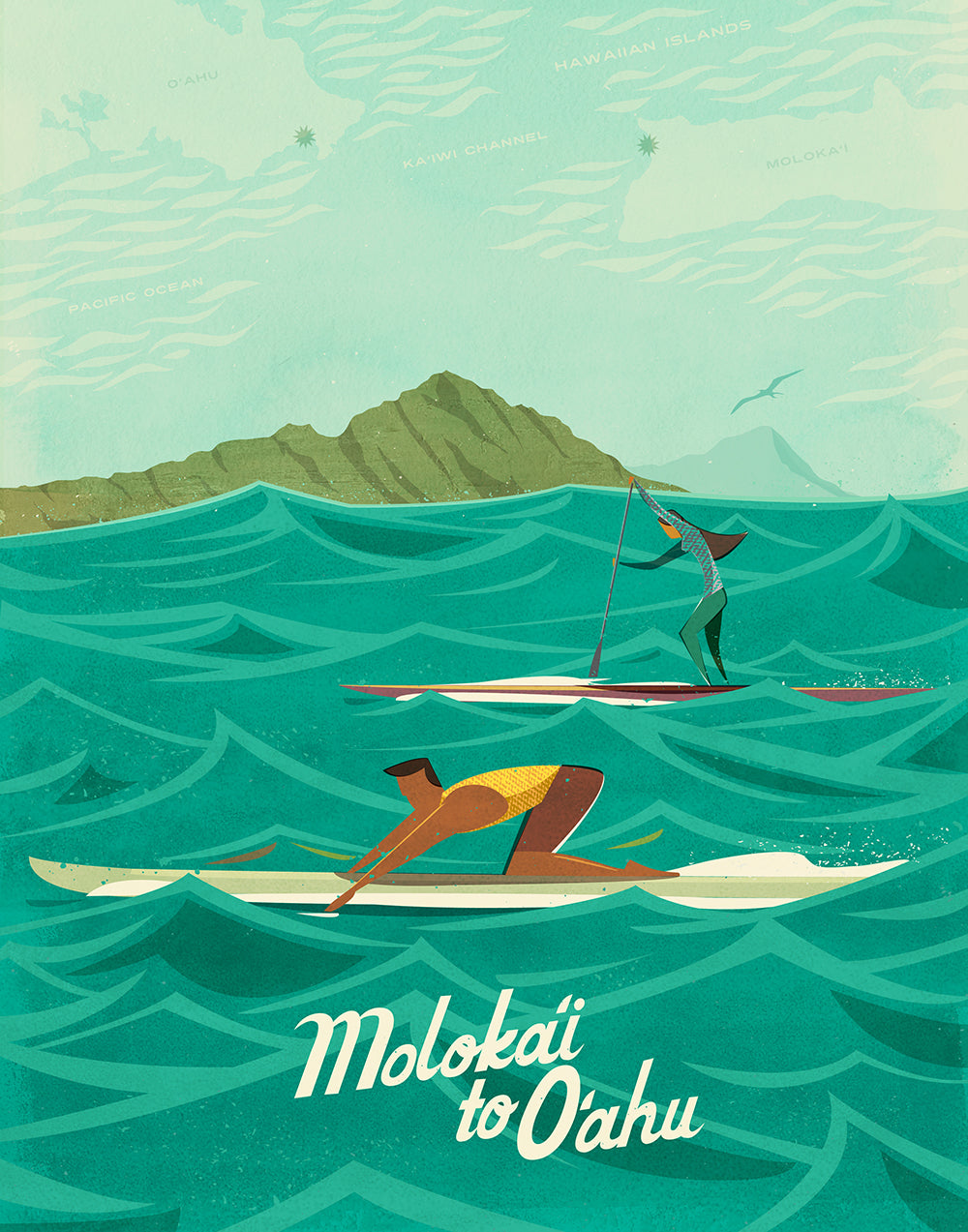 Hawaii Artist Nick Kuchar's Molokai2Oahu Vintage-Inspired Race Art