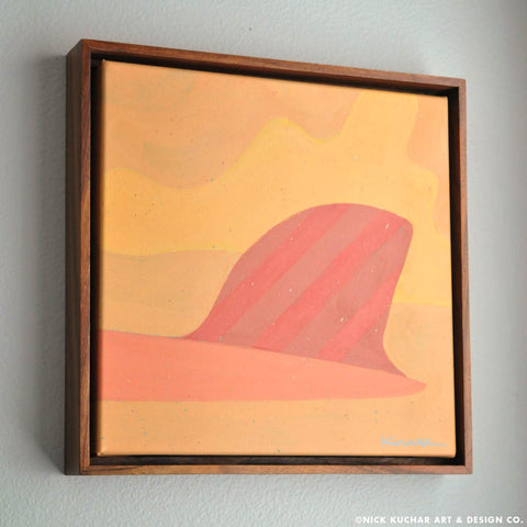 "Single Fin - 14""x 14"" - Framed Original"