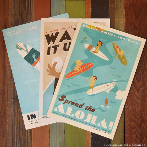 Hee Nalu Surf Series - 12x18 Retro Hawaii Travel Prints