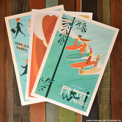 Island Life Series Retro Hawaii Travel Prints