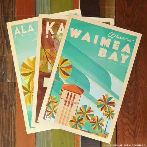 Oahu Beach Parks Series - 12x18 Retro Hawaii Travel Prints