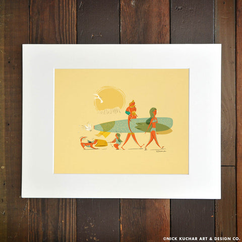 Ohana family surf print Diamond Head crater